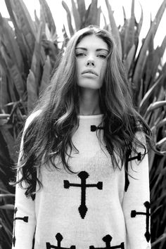 Ashton Estelle Berkley || black and white photography in Los Angeles || Bang Truong || cross sweater || hair and makeup