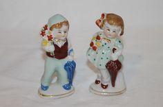 Vintage Ceramic Porcelain Boy Girl w Umbrella Flowers Made in Occupied Japan   eBay