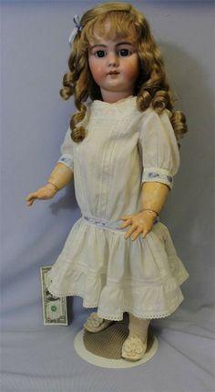 "Pretty 29"" DEP Jumeau Bebe' Doll Open Mouth Blue Eyes Orig.Body, Long.Curls"