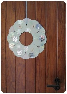 Winter wreath from old CDs