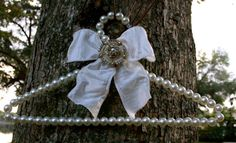 pearl beaded wedding dress hanger by TheCrystalFlower on Etsy, $38.00