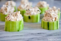 Cucumber Cups with Artichoke Dip #appetizer #lowcarb #party