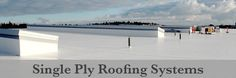 Single-Ply roof systems are typically sheets of some type of thermoset or #thermoplastic material manufactured in a factory. These types of #roofingmembranes are generally used on #buildings that have a low-slope and are installed utilizing numerous methods which can include fully adhered, ballasted, mechanically fastened to an approved substrate or as a #roofmembrane. Roofing Services, Roofing Systems, Single Ply Roofing, Roof Leak Repair, Roof Cleaning, Easy Install, Buildings, Type, Outdoor Decor