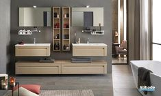 Meuble salle de bain Unique Wood 90cm 1 Small Bathroom, Bathroom Ideas, Double Vanity, Entryway, Interior Design, Mirror, Bed, Inspiration, Furniture