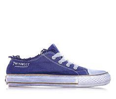 TWIN-SET - Blaue Schuhe mit Schnürsenkel, aus Stoff, Oberkante aus Spitze, Kind, Mädchen, Damen - http://on-line-kaufen.de/twin-set/twin-set-blaue-schuhe-mit-schnuersenkel-aus-stoff