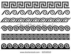 Ancient Greek Patterns and Designs | Meander and wave. Ancient Greek borders. Set of ornaments. - stock ...