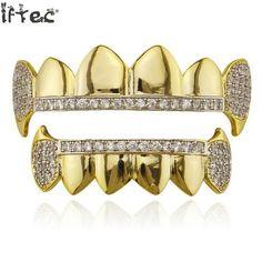 Iftec Gold Hip Hop Teeth Grillz Micro Pave Cubic Zircon Top&bottom Vampire Fangs Teeth Grills Set Holleween Gift Men Women