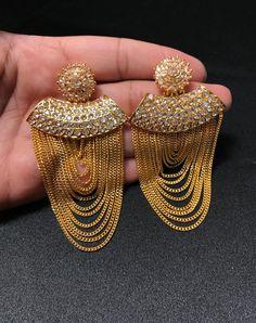Bollywood Jewelry - Indian Jewelry - Kundan Earrings - Chandelier Earrings - Multi Layer Rani Earrings - Pakistani Jewelry - Bridal Wedding - Lynne Seawell's World Indian Jewelry Earrings, Fancy Jewellery, Jewelry Design Earrings, Gold Earrings Designs, Stylish Jewelry, Unique Earrings, Designer Earrings, Etsy Earrings, Gold Jewelry