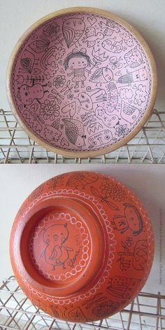 wooden doodle bowl (SOLD) | Flora Chang | Happy Doodle Land | Flickr