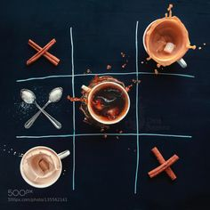 Coffee wins by Arken IFTTT 500px clever Noughts and Crosses Tic-tac-toe advertising black chalk chalkboard cinnamon cof