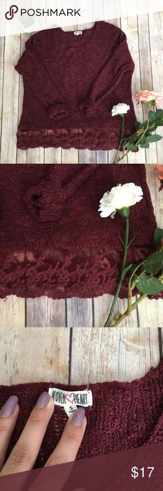 Burgundy sweaty with lace detailing No snags to my knowledge! Fits medium as well! wovenheart Tops Tees - Long Sleeve