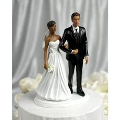 African American Bride and Latino Groom Figurine Wedding Cake Topper