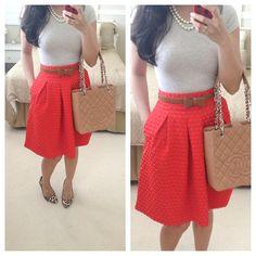Summer Work Outfits: Tee: H {old}; Skirt: H Belt: taken from TJMaxx dress; Shoes: Ivanka Trump; Purse: Chanel