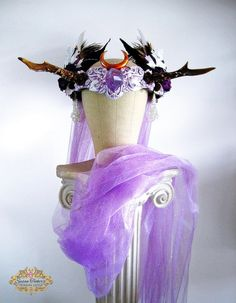 Antler Headdress Ritual Crown Amethyst Moonstone Woodland Fairy Costume Offbeat Wedding Pagan Deer AURORA PRINCESS by…