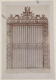 Wrought iron gates for the Dartmouth St. entrance, construction of the McKim Building Entry Gates, Entrance, Window Grill, Wrought Iron Doors, Boston Public Library, Forging Metal, Iron Art, Metal Fabrication, Garden Gates