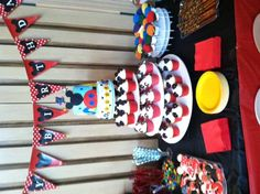 Mickey Mouse Club House Cake and Cupcakes set up Mickey Mouse 1st Birthday, Mickey Mouse Club, First Birthday Cakes, 2nd Birthday, Birthday Parties, Nautical Mickey, Second Birthday Ideas, House Cake, Gourmet Cupcakes
