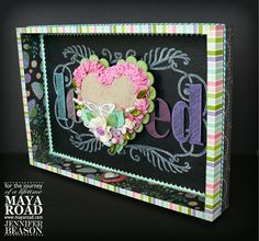 Check out the latest Maya Road projects, designs, contest and more. Valentine Day Crafts, Valentine Heart, Valentines, Frame Tray, Box Frames, Altered Boxes, Altered Art, Dyi Crafts, Paper Crafts