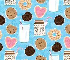 Happiness is Cookies and Milk fabric by lisakubenez on Spoonflower - custom fabric