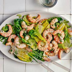 Cold Shrimp in Dill Cream Sauce Recipe   Bon Appétit Cream Sauce Recipes, Shrimp Recipes, Salad Recipes, Fish Recipes, Summer Dishes, Summer Food, Shrimp Salad, How To Cook Shrimp, Salads