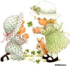 ruth morehead - Part 19 Sarah Kay, Cute Images, Cute Pictures, Marjolein Bastin, Holly Hobbie, Happy St Patricks Day, Spring Art, Four Leaf Clover, St Pattys