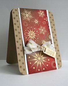 Joy by sarahjane4kids (Sarah M), via Flickr...luv the regal look of gold on red on this card...