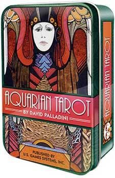 The compelling art deco imagery of the iconic Aquarian Tarot in a Tin, first introduced in 1970, is now presented in a charming keepsake tin. Aquarian Tarot brought medieval tarot symbolism into the m