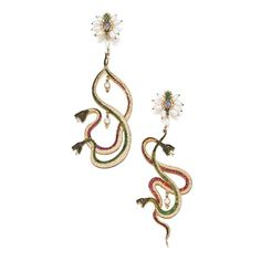 Gem Set Snake Earrings c. 1900 Entwined snakes decorated with calibré-cut emeralds and rubies