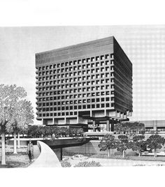 GRUZEN & PARTNERS  POLICE HEADQUARTERS, MANHATTAN CIVIC CENTER   in: ALFRED M. KEMPER DRAWINGS BY AMERICAN ARCHITECTS, 1973