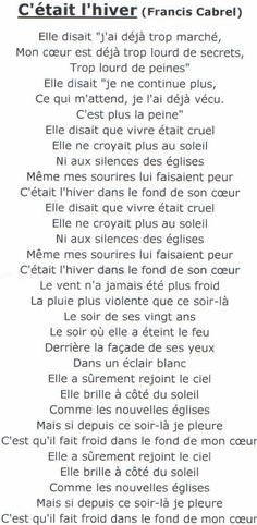 """Texte d'une chanson de Francis Cabrel : """"C'était l'hiver"""""""