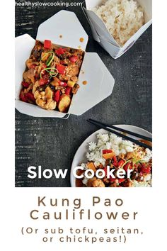 This Kung Pao Cauliflower is easy to make in your slow cooker. Sub out seitan, chickpeas, or even cubed tofu for the cauliflower to make this dish your own. Kung Pao Cauliflower, Cauliflower And Chickpea Curry, Vegan Slow Cooker, Slow Cooker Recipes, Crockpot Recipes, My Food Pyramid, Vegetarian Stuffed Peppers, Cabbage Steaks