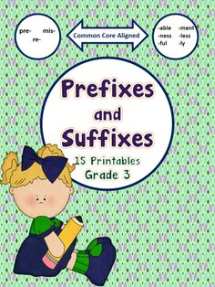 This packet includes 15 printables that are common core aligned to supplement and/or review your lessons on prefixes and suffixes.