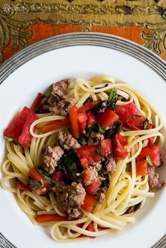 Pasta with Sausage, Tomatoes and Roasted Peppers Recipe — A must do <3