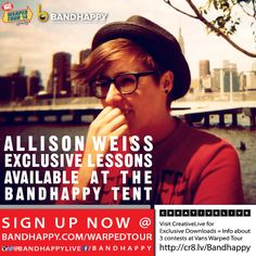 Allison Weiss to offer songwriting lessons through BANDHAPPY during the Vans Warped Tour 2014 http://boystereo.com/1h7YT7m
