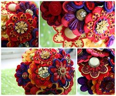 red purple orange and dashes of white = felt flowers extra-ordinaire