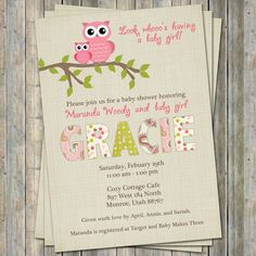 Paisley owl baby shower invitations, baby shower invitation with owls, Digital, Printable file. $13.00, via Etsy.