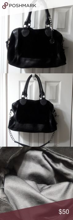 AUDREY BROOKE PURSE VERY GOOD CONDITION Large black suede w/ leather trim 3 compartments 2 zipper closure on side w/ inside pockets and snap closure in middle, 2 handles and shoulder strap Bags Satchels