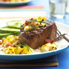 Tenderloin with Grilled Corn Relish  ..      A rich and creamy corn relish and bacon add juiciness to this lean cut of meat.