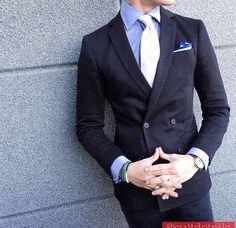 Black double brested suit