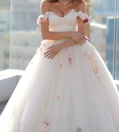 Off shoulder tulle ball gown wedding dress with floral flowers,so sweet just like fairytale princess ! Dresses For Teens Wedding, Western Wedding Dresses, Wedding Dresses With Flowers, Luxury Wedding Dress, Princess Wedding Dresses, Dream Wedding Dresses, Gown Wedding, Bridal Dresses, Church Wedding