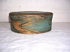 Early Small Oval Pantry Box in Original BluePaint- c. 1820-40.    Sold  Ebay   265.00