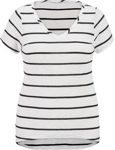 Plus Size High-Low Tee With Stripes