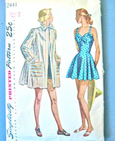 1940s bathing suit ,UNCUT, and jacket, cut.  Pattern by Simplicity 2441.    Bust 34 inches.