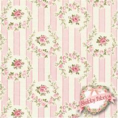 "Barefoot Roses Legacy TW50-Pink by Tanya Whelan for Free Spirit Fabrics: Barefoot Roses Legacy by Tanya Whelan for Free Spirit Fabrics.  100% cotton, 44""/45"" wide.  This fabric features pink stripes and rose cameos."