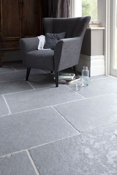 Gorgeous grey shade worn Limestone by Mandarin Stone - 'TAJ GREY' - Brushed surface and tumbled edges - Large format stone tiles. Very hard wearing flooring. Versatile and very beautiful.  www.mandarinstone.com