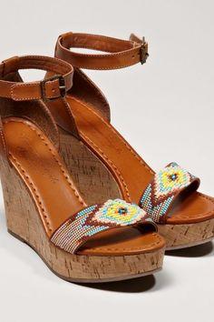 AEO Beaded Wedge Sandals, Women's, Size: 9, Tan