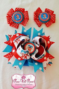 Dr Seuss hair bows