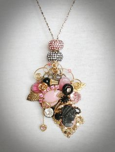 Vintage Jewelry Repurposed Pendant Necklace by TwistedandStitched, $58.95