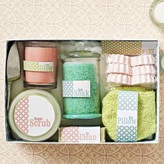Spa in a Box: Aah says it all. An assortment of homemade and store-bought spa essentials -- scrubs, bath fizzes, salts, and more -- makes an ultraindulgent holiday gift. Hand scrub how-to: Mix melted coconut oil, granulated sugar, and almond extract with a bit of food coloring, then fill a jar with your homemade scrub. Salt soak how-to: Start with Epsom salts, sea salt, and baking soda for the basic mixture, then add your favorite essential oil and food coloring for a custom scent and hue.