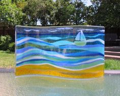 Excited to share this item from my shop: Beach Glass Art, Free Standing Gl. Glass Boat, Sea Glass, Stain Glass Cross, Glass Fusing Projects, Sailboat Art, Fused Glass Bowl, Glass Art Pictures, Shops, Crushed Glass