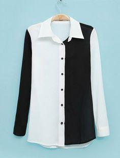 Long Sleeve Color Block Blouse Black